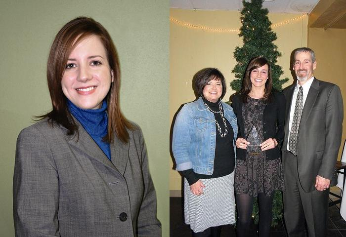 Dr. Amy Schultz (left) and Hadleigh Buchler with her parents Janelle and Scott (right)