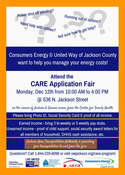 CARE Application Fair @ United Way of Jackson County | Jackson | Michigan | United States